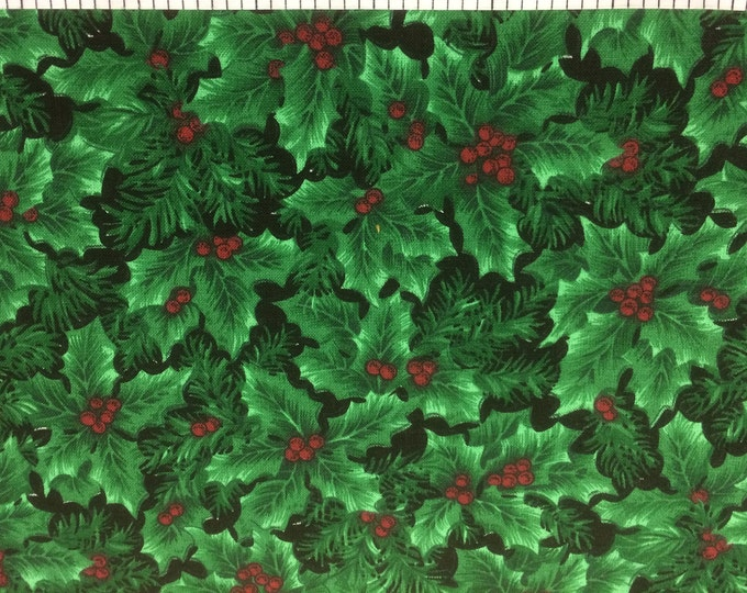 Holly Leaves  100% cotton fabric, sold by the yard  #374
