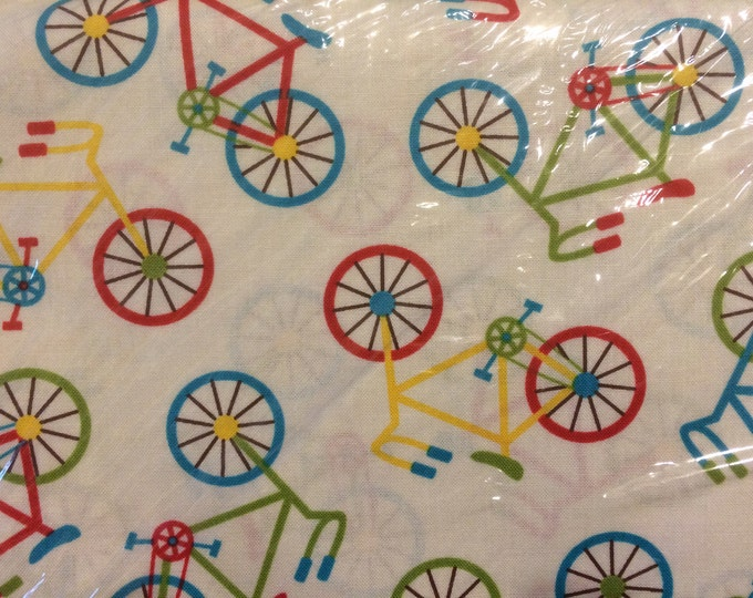 Bicycles 100% cotton fabric sold by the yard  #529