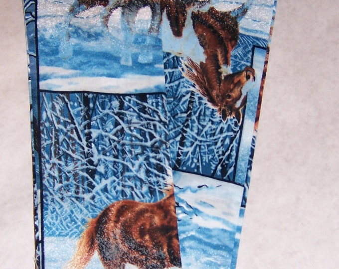 Horses in the snow, printed fabric, sethoscope cover