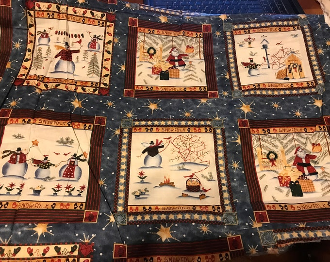 Snowfolk Christmas fabric, sold by the yard