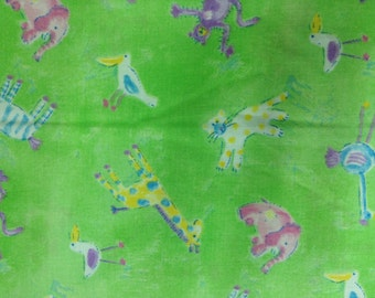"""stuffed animals on green background fabric. 100% cotton, 45"""" wide Sold by ( multiple lengths) #326"""