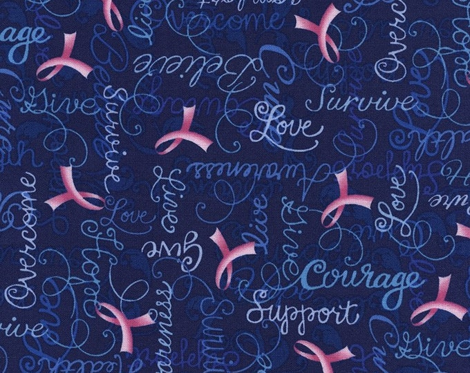 Blue Cancer Ribbon 100% cotton fabric-sold by the yard  #518