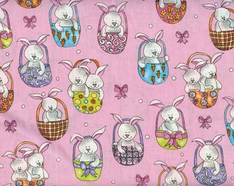 Bunnies in Baskets 100% cotton fabric- sold by the yard   #18