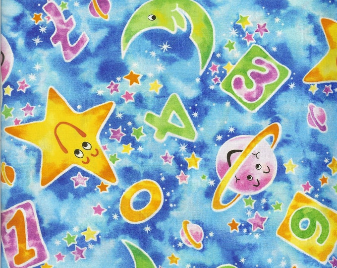 Moon and Stars 100% cotton fabric, sold by the yard   #151