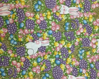 """Bunnies and eggs fabric. 100% cotton, 45"""" wide. Sold by ( multiple lengths)  #96"""
