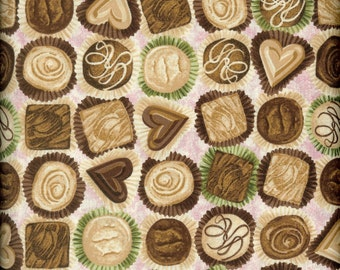 Chocolates 100% cotton fabric-sold by the yard   #43