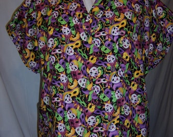Mardi Gras themed scrub top