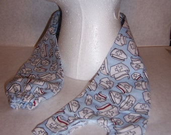 Blue nurse caps, patterned fabric sethoscope cover