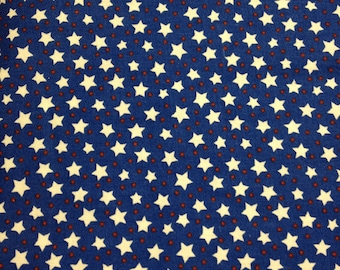 White stars on blue background, fabric. Sold by( multiple lengths)  #56
