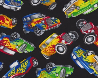 Hot Rods  100% cotton fabric, sold by the yard  #513