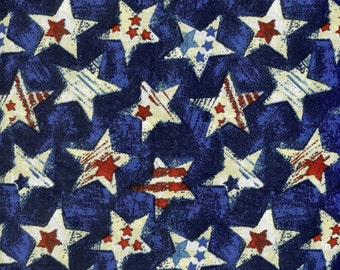 Holiday stars on blue background. 100% cotton fabric, sold by the yard  #77