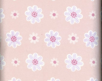 Pink Snowflakes cozy cotton Flannel, sold by the yard  #234