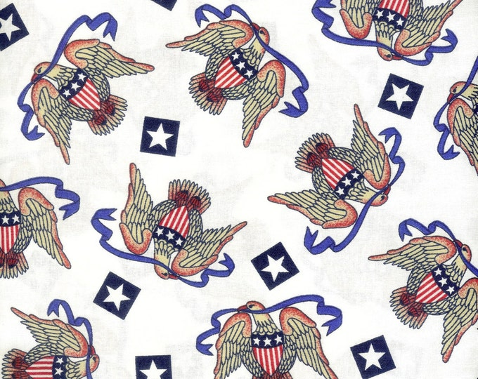 Patriotic Eagles 100% cotton fabric. Sold by the yard   #67