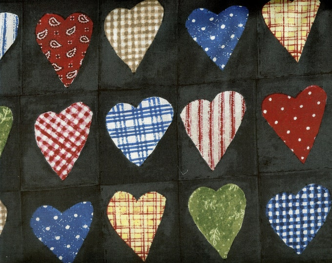 Patchwork Hearts 100% cotton fabric-sold by the yard  #385