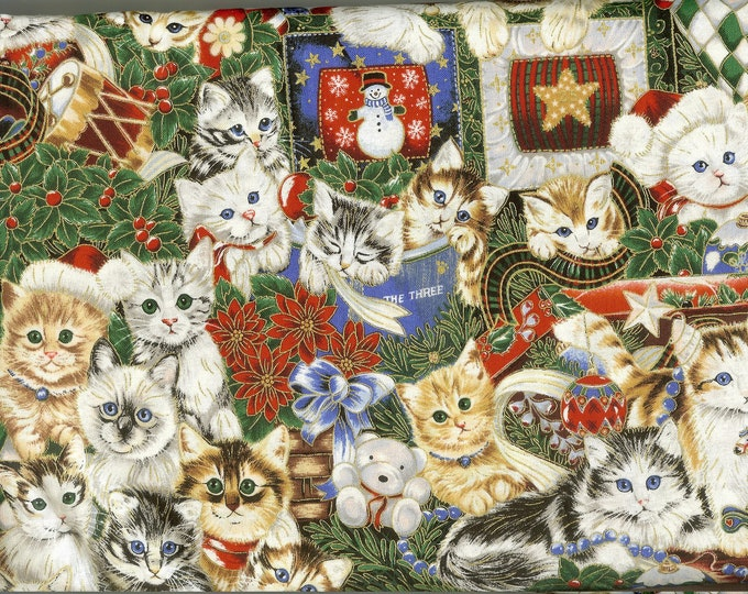 Shiny Christmas Kitties 100% cotton fabric, sold by the yard  #264