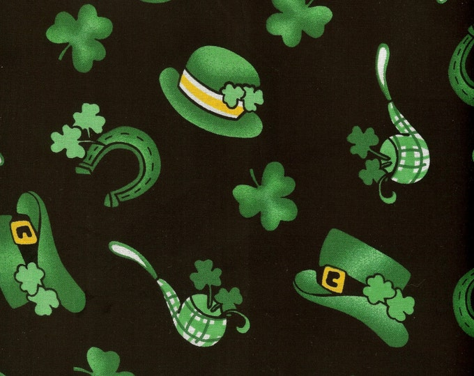 Hats and Pipes 100% cotton fabric- sold by the yard   #378
