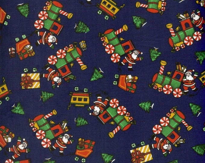 Christmas Trains 100% Cotton fabric, sold by the yard  #156