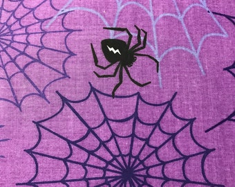Purple spider web cotton fabric sold by the yard # 365