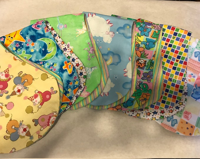 Baby burp cloths sold as a set
