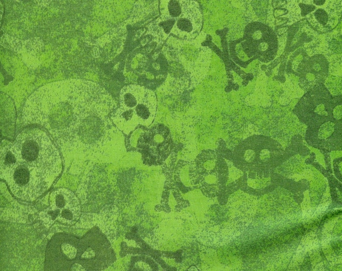 Skulls on green background, Batik fabric- sold by the yard  #210