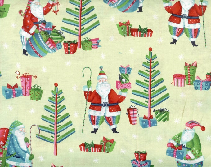 Secret Santa 100% cotton fabric, sold by the yard  #188