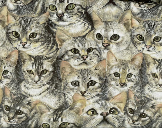 Kitties All Over 100% cotton fabric, sold by the yard   #157