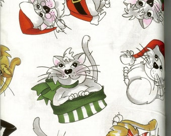 Christmas Kitties fabric, sold by the yard   #255