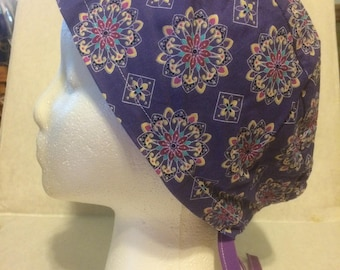 Purple Mosaic, cotton, tie back surgical cap