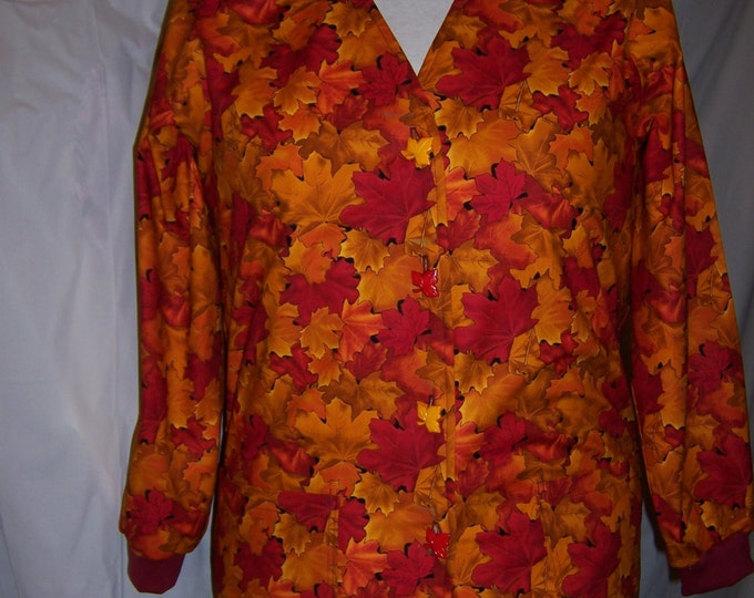 Fall/ Halloween scrub jackets ( you can choose the fabric you want, from ones listed, or other fabrics in my store)