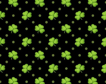 Shamrocks black 100% cotton fabric-sold by the yard  #519