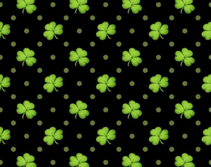 Shamrocks black 100% cotton fabric-sold by the yard  #519