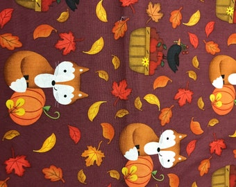 Fall Foxes 100% cotton fabric sold by the yard