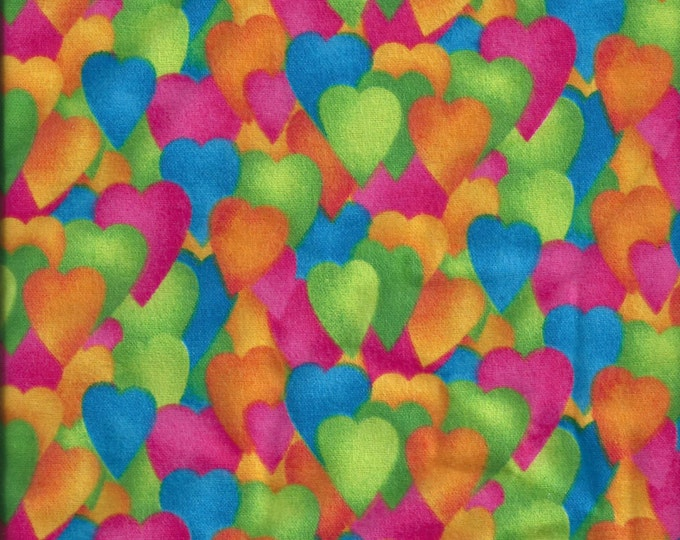 Bright colored hearts, 100% cotton FLANNEL, sold by ( multiple lengths)  #438