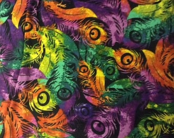Feathers in Mardi Gras colors,100% cotton fabric sold by the yard