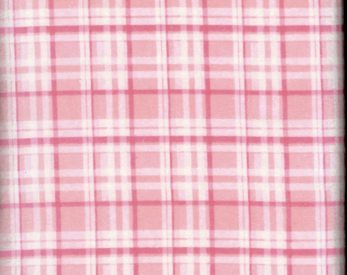 Pink plaid cozy cotton FLANNEL, sold by the yard  #225