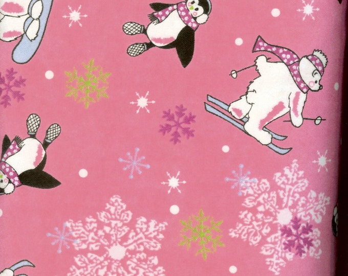 Winter Fun pink cozy FLANNEL, sold by the yard  #241