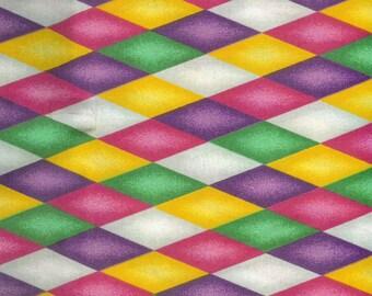 Mardi Gras diamonds cotton fabric. Sold by( multiple lengths)  #328