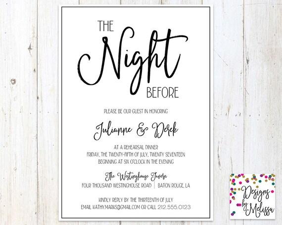 Pre Wedding Dinner Invitation: Rehearsal Dinner Invitation The Night Before Invitation