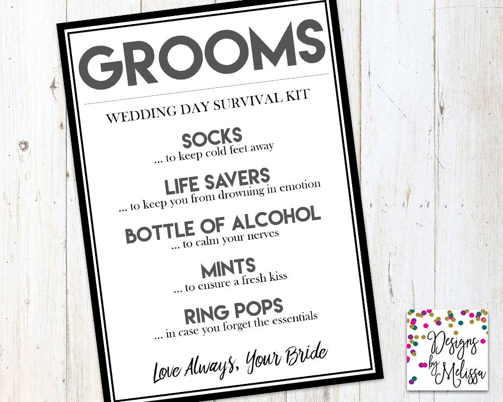 Gifts For Bride And Groom On Wedding Day: Groom's Wedding Day Survival Kit Groom Gift From Bride