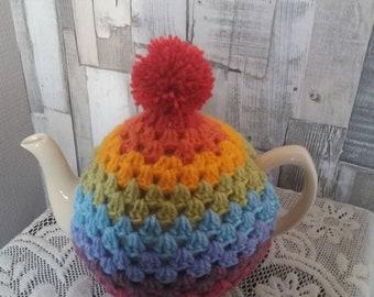 Oh my pret-tea-ness! Hand crochet rainbow vinage tea cosy / cozy with pompom!