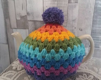 The bright-tea from Blight-tea! Hand crochet vintage colours tea cosy / cozy with pompom. oooh those colours tho!!