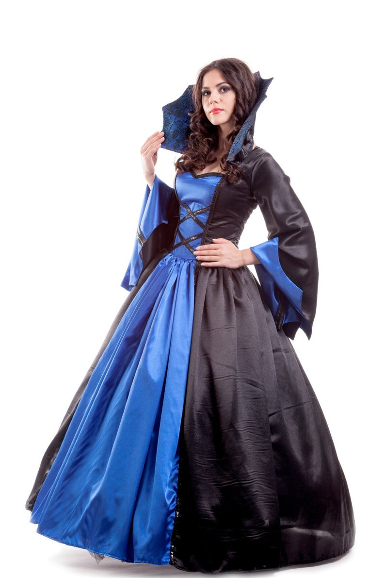 7a543fe18c24f Vampire Queen Women's Costume - Size 4 - An elegant blue and black satin  vampire queen costume dress, for Halloween or any costume party