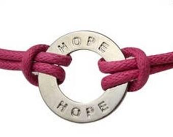 Personalized HOPE Breast Cancer Bracelet, Hope charm, Hope bracelet, Inspirational messages, Personalized charm bracelet, Washer bracelet