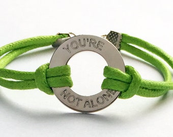 You're Not Alone washer Bracelet,Suicide Awareness Bracelet Teen suicide braceletSupport depression in teens gift for depressed friend