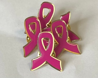 Breast cancer pink ribbon pin, family support breast cancer survivor , friend support survivor pin