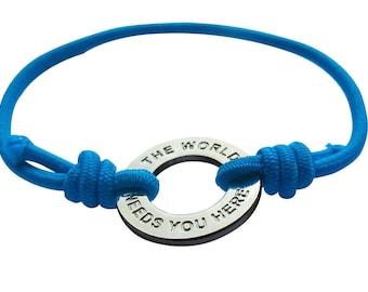Suicide Prevention bracelet, Healing bracelet,The world Needs you here elastic stretch bracelet with stamped message,gift for depressed