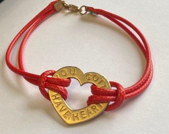 Heart charm bracelet gift for valentines day for girlfriend, Gift for heart awareness fundraiser