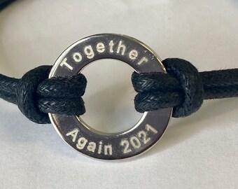 Together Again Bracelet, black cord, washer engraved, guys bracelet, 2021 together again bracelet