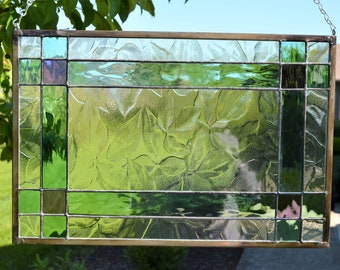 Stained glass panel clear leaf, seafoam green, purple, classic  17 x 11.5