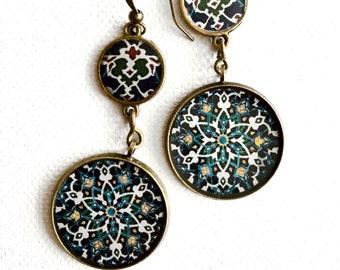 SOLTAN earrings - Persian - Traditional - Historical - Persian tile design Earrings - Persian jewelry